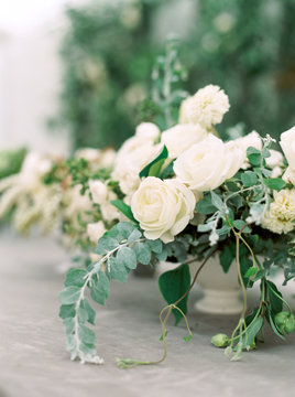 White roses at a wedding reception