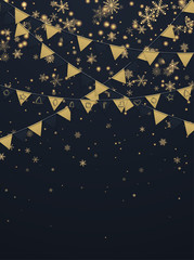 Black festive background with golden paper flags and snowflakes.