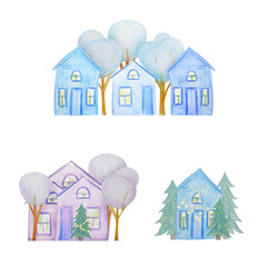 Winter set of houses drawn with colored watercolor pencils