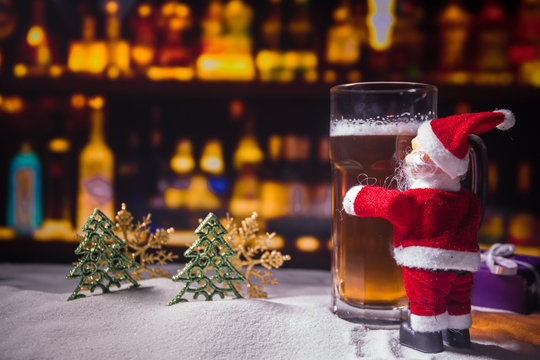 Christmas Beer on snow with decorative artwork