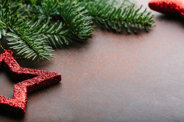 Christmas background with fir tree and decor with copy space