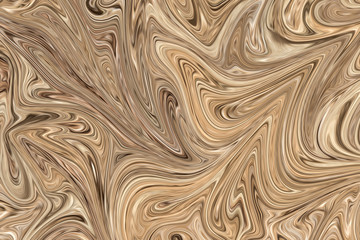 Liquify Abstract Pattern With Brown And Black Graphics Color Art Form. Digital Background With Liquifying Flow.