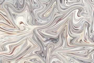 Liquify Abstract Pattern With Seashell, Beige And Grey Graphics Color Art Form. Digital Background With Liquifying Flow.