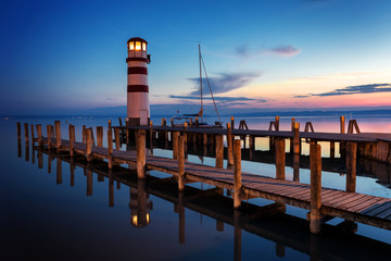 Lighthouse at sunset, Podersdorf am see, Austria