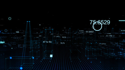 Technological digital background consisting of a futuristic city with data
