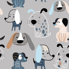 Modèle sans couture enfantin avec des chiens créatifs drôles. Fond de vecteur scandinave à la mode. Parfait pour les vêtements pour enfants, le tissu, le textile, la décoration de chambre d& 39 enfant, le papier d& 39 emballage