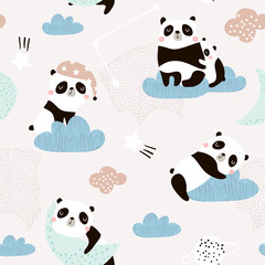 Seamless pattern with cute sleeping pandas, moon, rainbows, clouds. Creative good night background. Perfect for kids apparel,fabric, textile, nursery decoration,wrapping paper.Vector Illustration