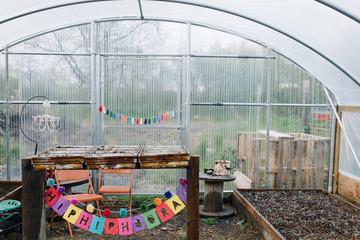 Inside a conservatory
