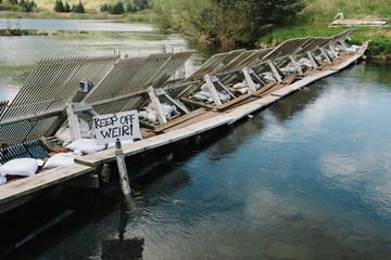 Levee blocking water