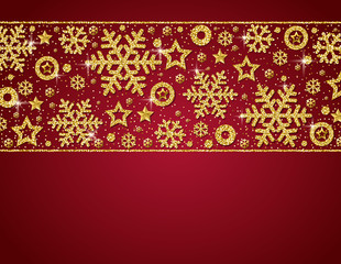 Red christmas card with  frame of golden glittering snowflakes and stars, vector illustration