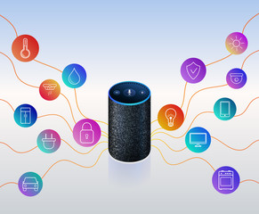 Smart speaker voice assistant for home control automation. Icons on colorful gradient. Isolated object. Vector illustration