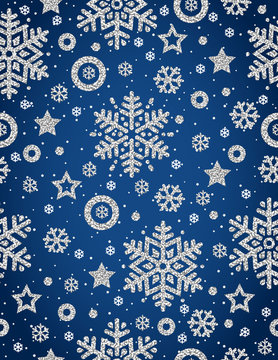 Blue Christmas background with silver glittering snowflakes and stars,  vector illustration