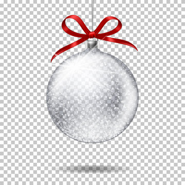 Realistic transparent christmas ball with bow, isolated on transparent background.