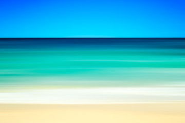 Empty sea and beach background with copy space, Long exposure, blur motion abstract background