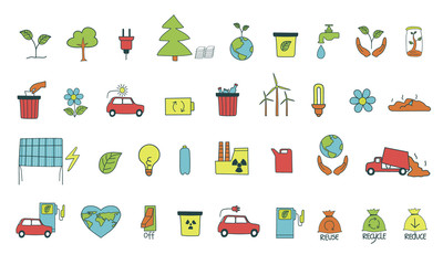 Colorful big set with hand drawn symbols of the environmental pollution concept. Simple vector illustration