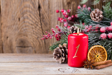 Christmas greeting card. Festive decoration on wooden background. New Year concept. Copy space.  Flat lay. Top view.