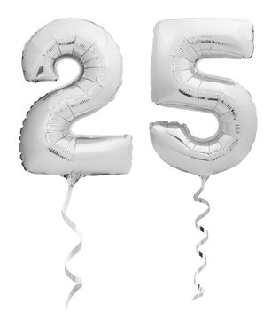 Silver chrome number 25 twenty five made of inflatable balloon with ribbon isolated on white