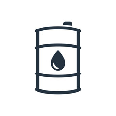 barrel, drop isolated line icon on white background, oil industry