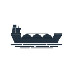 gas tanker isolated icon on white background, oil industry