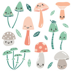 Cute cartoon mushrooms with faces and leaves