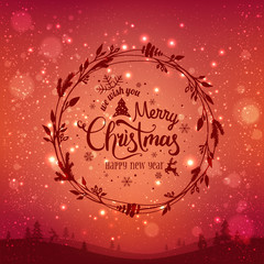 Merry Christmas and New Year typographical on red holiday background with Christmas wreath, landscape, snowflakes, light, stars. Xmas card. Vector Illustration