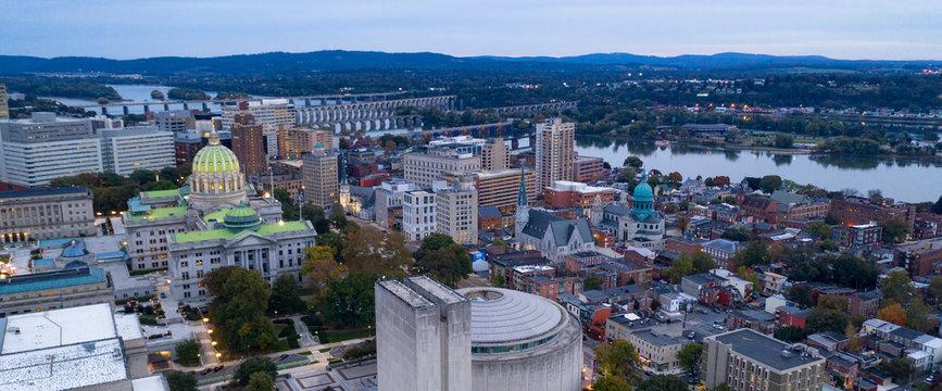 Pennsylvania State Capital Building Upper Dome Harrisburg Dusk