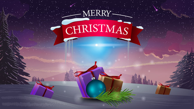 Merry Christmas - logo with red ribbon and Christmas gifts on winter forest background