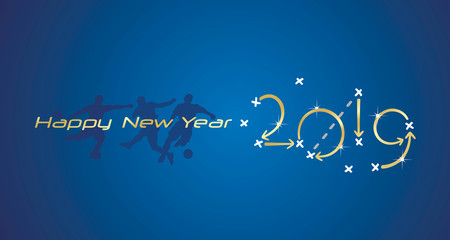 Soccer Happy New Year strategy 2019 gold blue board background players silhouette greeting card