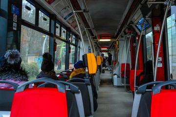 Prague, Czech Republic - November, 20, 2018: interior of a Prague tram