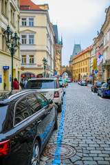 Prague, Czech Republic - November, 20, 2018: cars on a parking in Prague