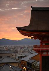 Kyoto temple sunset