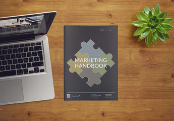 Marketing Handbook Layout with Blue Accents