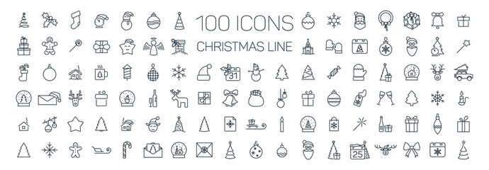 Christmas line web 100 icons set on white background Fotomurales