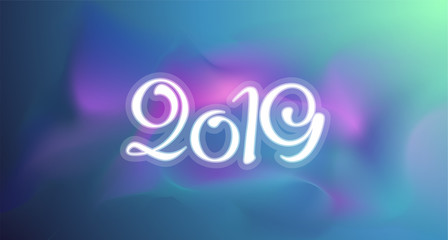 New 2019 year greeting card. Vector colorful template background