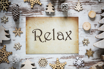 Rustic Christmas Decoration, Paper, English Text Relax