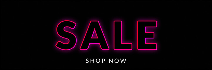 sale banner with neon sign for black friday background