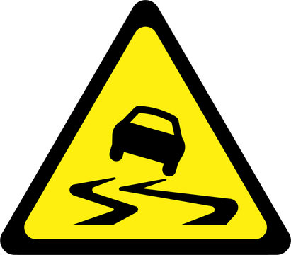 Warning sign with slippery road
