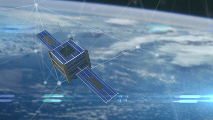 Satellite or nanosatellite orbating the earth for world wide data connectivity