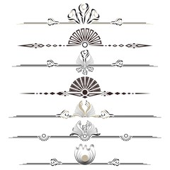 Decorative two colors ornaments / Ornamental dividers set on white background. Classic, floral and ethnic ornaments