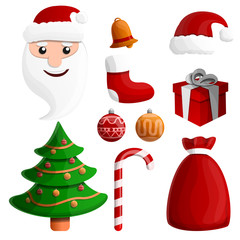 set of cartoon doodles icons on christmas theme, vector illustration