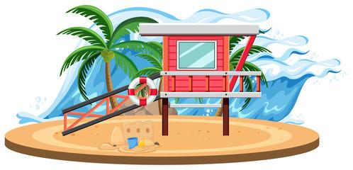 Isolated summer beach template
