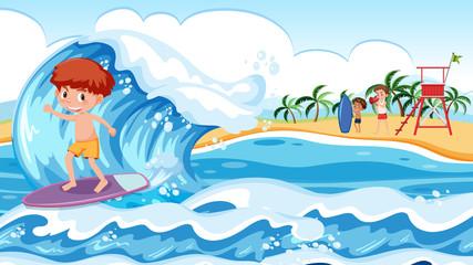 A boy surfing big wave