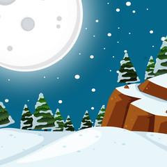 Snow night time scene