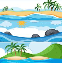 Set of ocean scenes