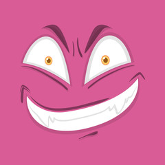 Monster face on pink background