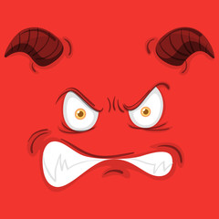 Monster face on red background