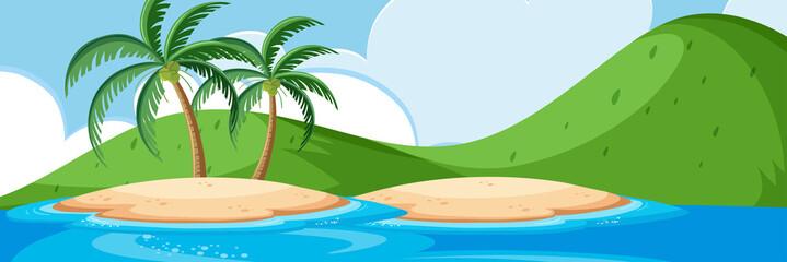 Beautiful island landscape scene