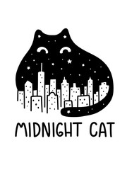 A Cartoon Vector Outline Drawing Of Black Midnight Sky Cat Watching Over The City Skyline