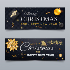 Merry Christmas and Happy New Year Cover Template for social networks.