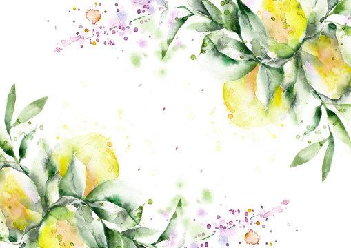 bright watercolor invitation template, verbena lemons